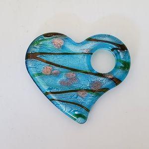 Blue Glass Heart Neclace